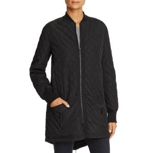 Kenneth Cole Black Quilted Long Bomber Jacket